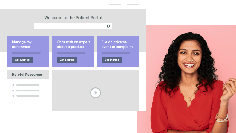 Smiling young woman accesses self-service options through an online medical patient portal.