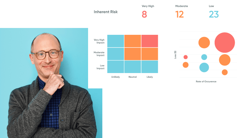 Portrait of a man next to a graphic displaying risk data for a life sciences company.
