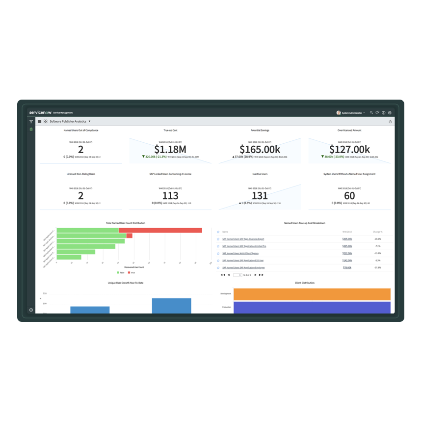 A screenshot of SAP dashboard